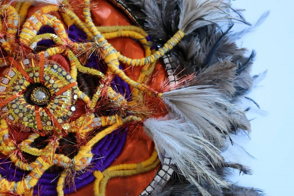 Courtney Hill & Valerie Shaw, Detail, work in progress, 2021, Thread, emu feathers, found objects, 120 x 120cm, City of Wanneroo