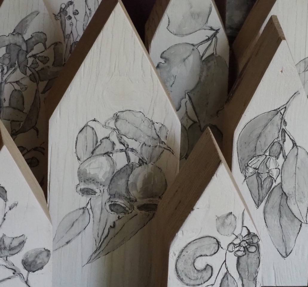 Triangular topped pieces of wood with Australian native flowers on them