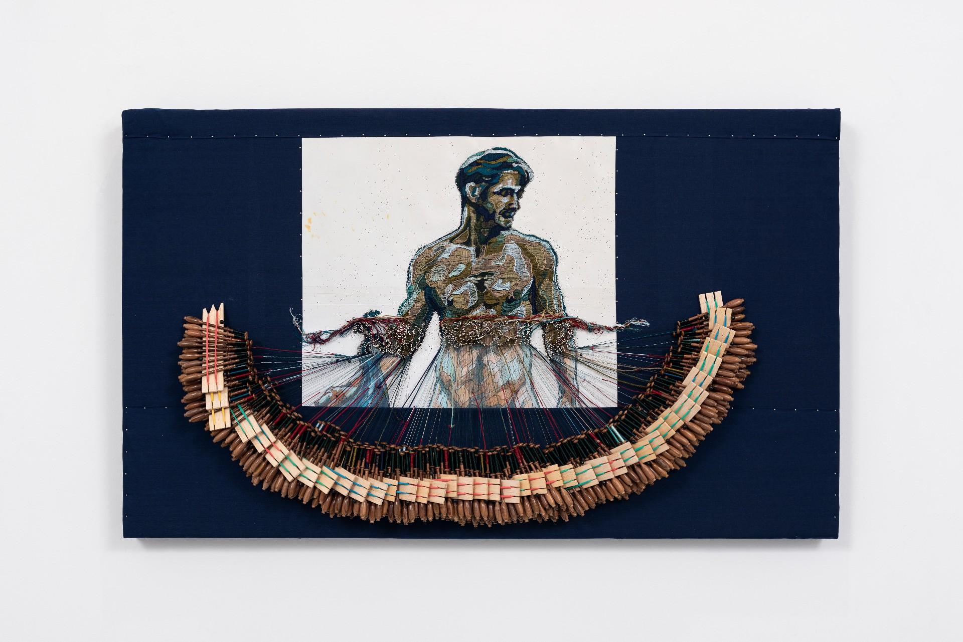 Pierre Fouche, The Little Binche Peacock and Other Utopian Dreams 2019, (detail), acrylic cord bobbin lace, silk floss bobbin lace, wooden lace bobbins.