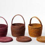 Three baskets in earthy tones. Burgundy-wine, Brown and Orange.