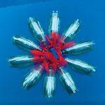Sultana Shamshi, Floating Bloom, Recycled plastic, mesh, 90 x 90cm, Photo by Sultana Shamshi